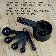 10Pcs Black Plastic Kit for Baking Coffee Tea Measuring Spoons Cups Set Tools