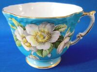 Aynsley Bone China Tea Cup (C1087) Dogwood Flowers on Teal Blue -Cond. Issues