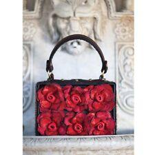 Mary Frances Love Story Red Floral Flowers Black Beaded Purse Bag Handbag NEW