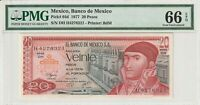 PMG Certified Mexico 1977 20 Pesos Banknote UNC 66 EPQ Gem Pick 64d US Seller