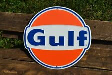 Gulf Gas & Oil Corporation Embossed Tin Metal Sign - Gasoline - Die Cut - Retro