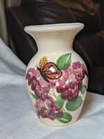 "Vintage Emerson Creek Pottery Bedford Virginia Lilacs & Butterfly 5"" Vase 1990's"