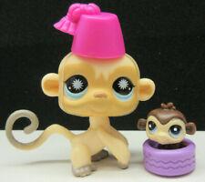 Littlest Pet Shop #835 Cute Cream Tan Mom Monkey W/ Teeniest Tinest Baby W/ Tire