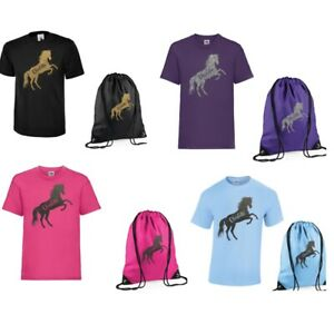Girls Personalised T Shirt & Bag Set with Rearing Horse & own name Age 3-13 NEW