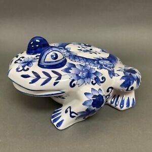 "Large Decorative Blue White Floral Rose Frog Figure 12 1/2"" x 9 1/4"" 5 1/2"""