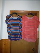 Short Sleeve Blouses Dana Buchman size XL Multi Color Striped NWT