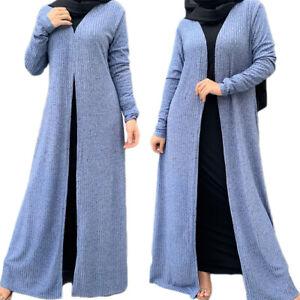 Muslim Women Maxi Cardigan Dubai Open Abaya Kaftan Long Dress Robe Autumn