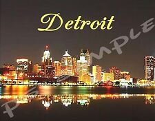 Michigan DETROIT NIGHT SKYLINE Travel Souvenir Magnet