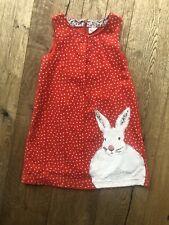 Mini Boden Age 7-8 Bunny Rabbit Red Cord Pinafore Dress VGC
