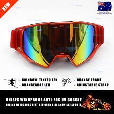 100% New MX Orange Rainbow Changeable Lens Motocross Dirt Bike Ski Goggles