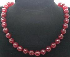 "10mm Faceted Dark Red Jade Ruby Gemstone Beads Natural Jewelry Necklace 18""AAA"