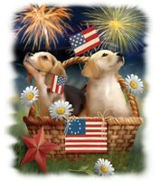 American Flag Shirt, Puppies, 4th of July, Patriotic Pups, Fireworks, Small - 5X