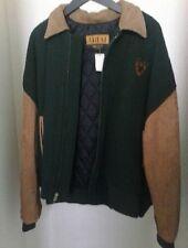 Mens Ariat Dark Green Tan Sleeves Suede Leather Jacket XL