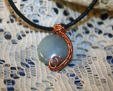 AMAZONITE CRYSTAL WIRE WRAP COPPER WEAVED PENDANT / NECKLACE