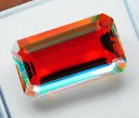 Natural 11.80 CT Untreated Brazil Fire Topaz Emerald Cut Loose Gemstone B 2329