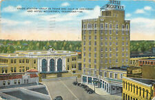 Linen Postcard AH B773 Union Station Half in Tex Ark Hotel McCartney Texarkana