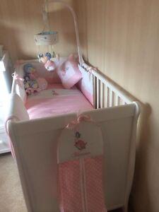 Peter Rabbit Nursery Package. Cot Bed set, nappy stacker,cushion,Fleece Blanket