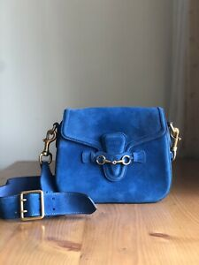 Gorgeous Authentic Gucci Lady Web Blue Suede Leather Shoulder Crossbody Bag