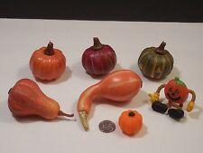 7 Pc Sm Halloween Thanksgiving Decorations ~ Pumpkins Squash & Pumpkin Man (L4)
