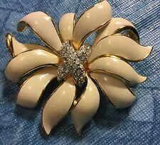 Kenneth Jay Lane Flower Goldtone Ivory Enamel Pave Rhinestone Pin Brooch