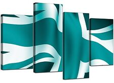 Abstract Teal Canvas Wall Art Pictures 130cm Wide Set 4 Prints XL 4010