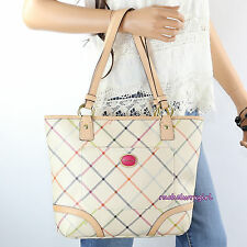 NWT Coach Peyton Tattersall Tote Shoulder Bag F21863 White Multicolor NEW RARE