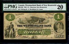 $1 1861 Westmorland Bank New Brunswick PMG VF-20 800-12-02 Canada Moncton