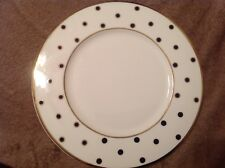 Mikasa, color studio, bone china, navy blue and gold polka dot dessert plate
