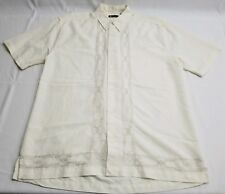 CENTRO men Embroidered Ivory Short Sleeve Linen Rayon Blend Camp Shirt Size M