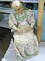Antique Mexico Doll GRANNY Grandma Elderly Lady Sitting in Chair Knitting VTG