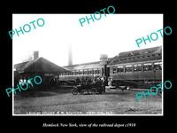OLD LARGE HISTORIC PHOTO OF HEMLOCK NEW YORK, THE RAILROAD DEPOT STATION c1910