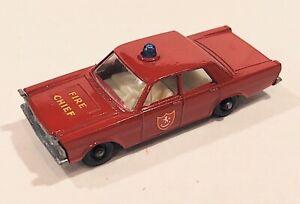 59-C VNM Beautiful Ford Galaxie Fire Chief Car Lesney Matchbox circa '66