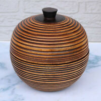 Tea Canister Wooden Tea Box Home Kitchen Jewelry Accs Organizer Pot 14x16cm