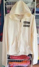 Hollister Abercrombie & Fitch County Line Creme Zip Logo Print Hoodie L