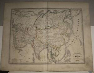 ASIAN CONTINENT1857 FRANCESCO COSTANTINO MARMOCCHI ANTIQUE LITHOGRAPHIC MAP