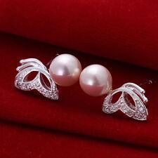Damen Ohrring Ohrstecker Ohrringe Perle rosa pl. mit Sterlingsilber DO017 T::A