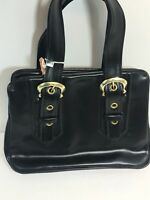 Vintage Black Leather Purse Handbag Doctor Bag Made in Taiwan Great Condition