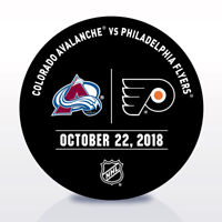 Philadelphia Flyers Issued Unused Warm Up Puck 10/22/18 Vs Colorado Avalanche