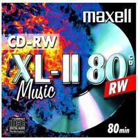 5 Maxell Audio CD-RW JEWEL CASE 80 min 4x 700MB Music XL2 XLII 624865.35.TW .