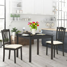 3 Piece Table Chair Set w/ 2 Stools Wooden Dining Room Kitchen Furniture
