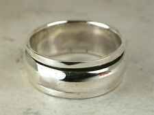 BEEFY .925 STERLING SILVER PLAIN BAND SPINNING RING size 10  style# r2020