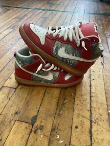 Nike SB Dunk High Premium Shoe Goo Red White Grey With White Laces