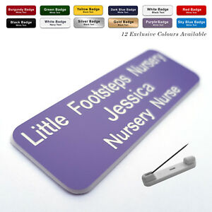 PIN Custom ID Engraved personalised Name Badge for Work Office business company