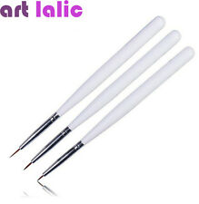 3PCS White Nail Art Design Pen Painting Nail Supplies Dotting Brush Set