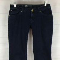 MOSSIMO Premium womens size 6 stretch solid blue dark wash low rise flare jeans