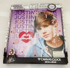 JUSTIN BIEBER HEART THROB PINK CANVAS WALL CLOCK 25cm x 25cm - NEW