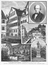 Tübingen, Sammelblatt, Ludwig Uhland, Original-Holzstich von ca. 1885
