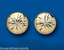 Button Earrings Button Studs Yellow Gold Button Stud Earrings Diamond Cut 12mm