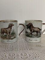 Irish Setter Golden Retriever Set Of 2 Stoneware Dog Hunting Coffee Tea Mug Cup