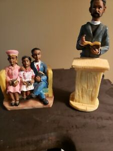 Vintage African American Church family and Preacher resin Figurines lot of (2)